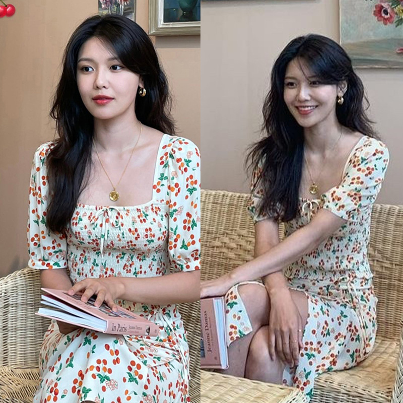 Midsummer new Cui Xiuying same Korean fashion suit female sexy aging Chiffon printed two-piece dress