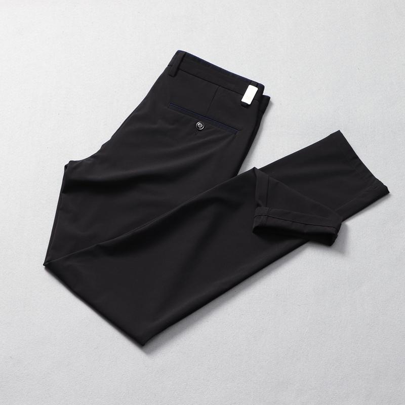 冰丝弹力品牌男装折扣店丝滑休闲裤男士裤子夏季薄款修身黑色长裤