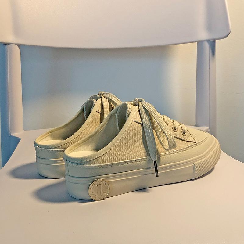 内增高半拖帆布鞋女夏季学生韩版百搭无后跟懒人一脚蹬厚底小白鞋