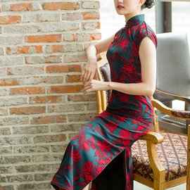唐之语春夏季长款气质复古港味雪纺旗袍日常穿着民国风老上海芷图片