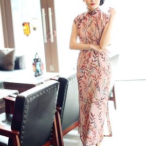唐之语中国风改良雪纺新式旗袍年轻长款少女文艺复古连衣裙夏
