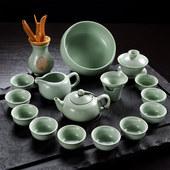 开片汝窑茶具套装全套汝瓷整套陶瓷功夫茶具套装冰裂盖碗家用茶壶