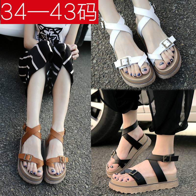 Korean students white sandals womens summer 2021 new flat bottom muffin thick bottom simple and comfortable