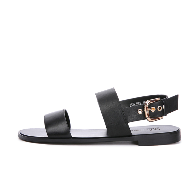 New giussano Zago / GZ simple black casual sandals mens flat heel flat bottom comfortable Roman shoes