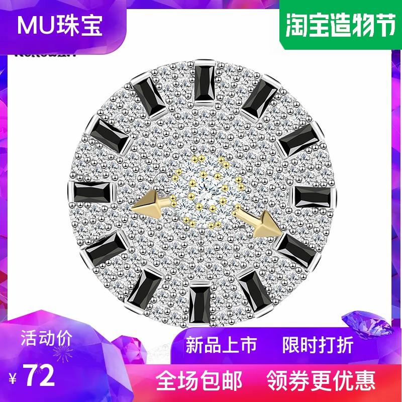 New Korean fashion clock pointer rotation Brooch button contrast geometric trapezoidal zircon Brooch Pin collar button