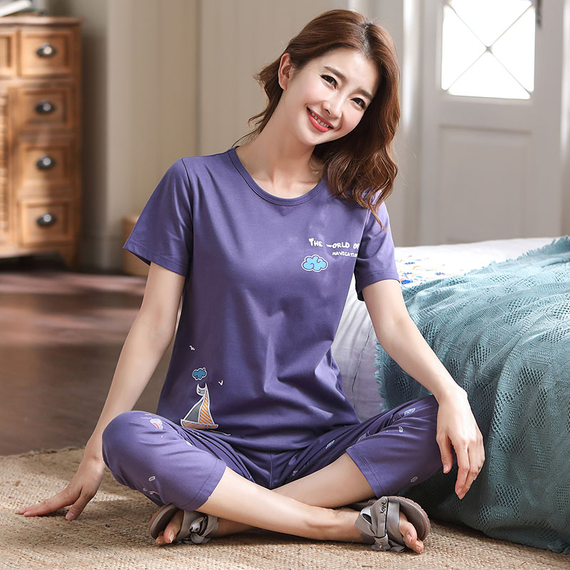Summer cotton short sleeve pants pajamas middle aged mother big size womens super fat plus size Pullover home set