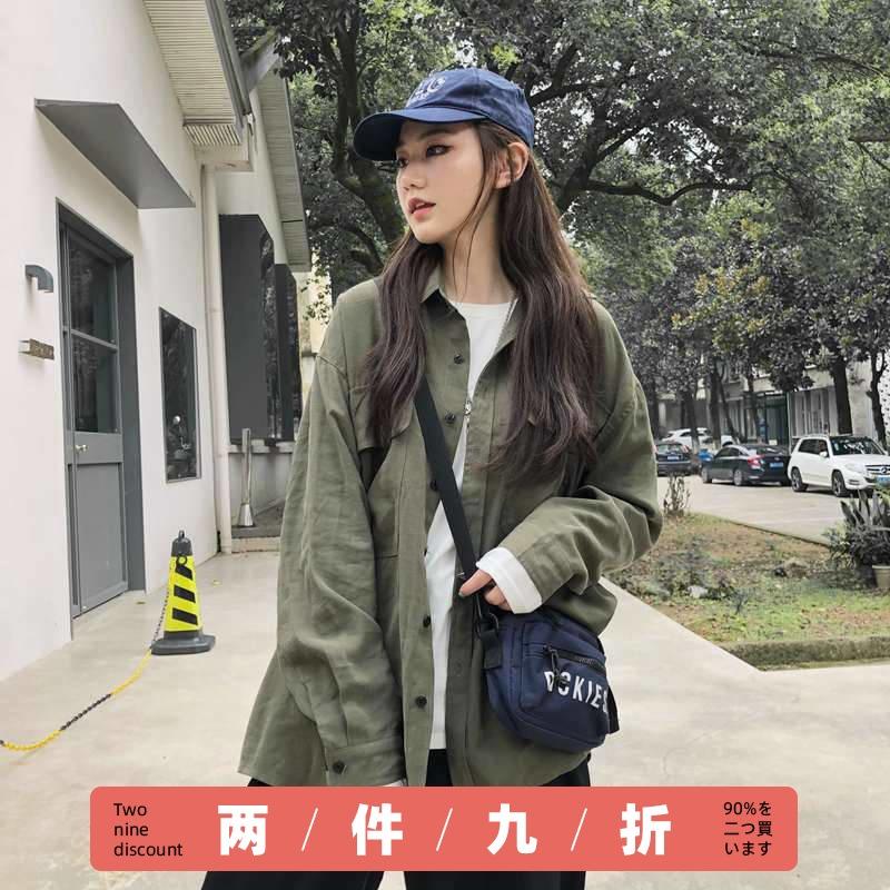 潮叁WOLA日系双口袋复古军绿色工装衬衣长袖男女情侣衬衫翻领外套