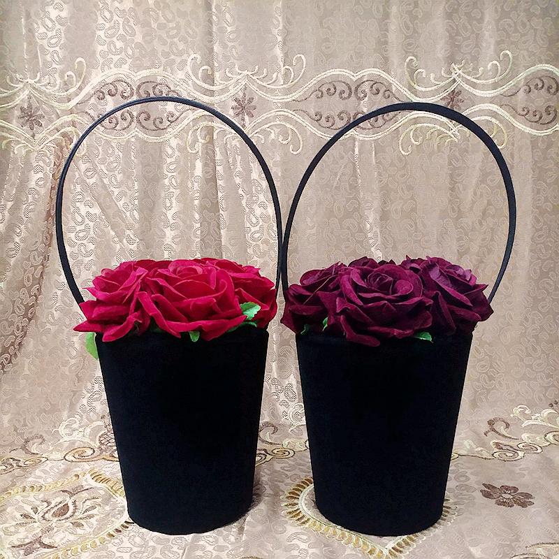 创意复古红花朵女包丝绒手提包个性大容量水桶包vintage包南风包