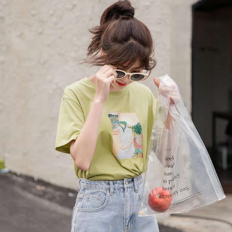 哈果超人超火cec白色t恤女短袖2019新款上衣夏宽松直筒印花ins潮