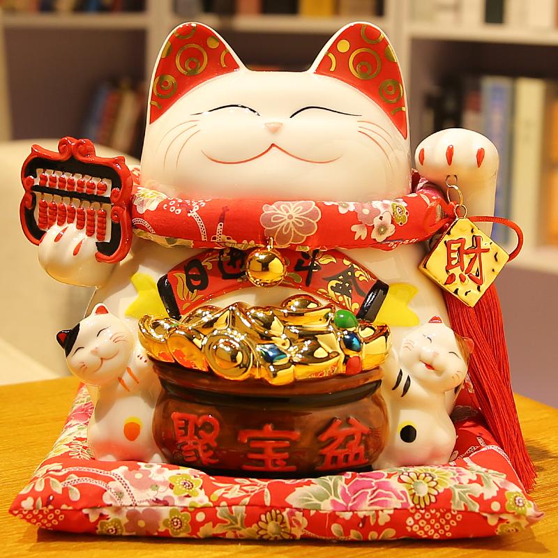 招财猫摆件大号陶瓷储蓄罐存钱罐招财进宝日本创意店铺开业礼品