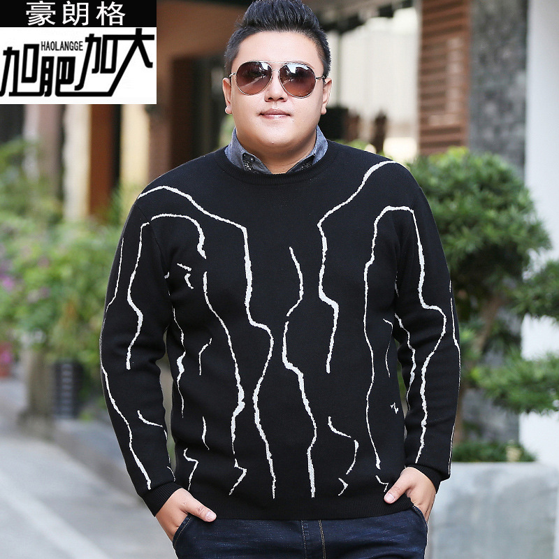 Fat mans autumn and winter mens sweater plus extra large round neck sweater