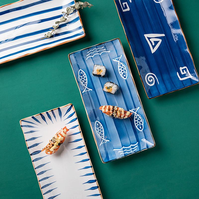 日式手绘陶瓷长盘子创意复古长方形寿司盘小吃盘菜盘家用甜品长盘(非品牌)
