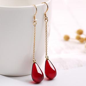 天然蜜蜡二代气质耳坠长款网红耳环S925纯银气质琥珀复古女款耳饰