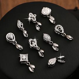 S925银吊坠扣瓜子扣头男女银扣配件扣子翡翠玉器水晶夹扣项链卡扣