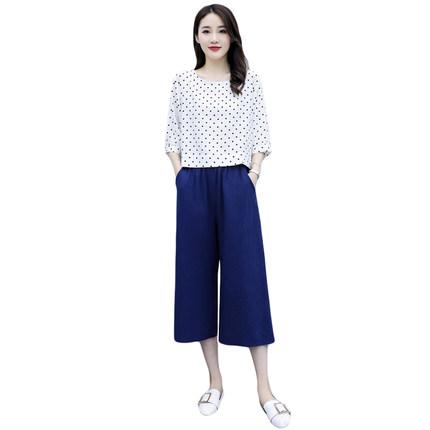棉麻女夏新款复古波点短袖阔腿裤