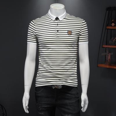 爆款2021夏季新款翻领条纹男士短袖POLO衫 D307 1631 P68