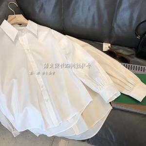 清仓捡漏~早秋新款商场撤回女装 宽松廓形纯色长袖衬衫上衣秋冬
