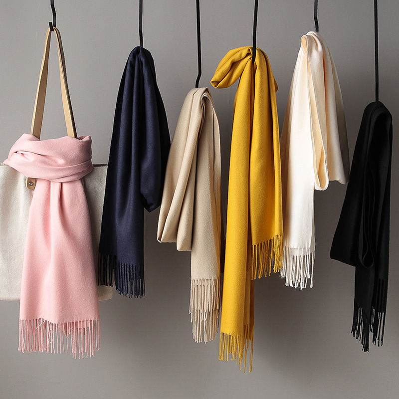 Scarf female spring and autumn Korean versatile solid color imitation cashmere office air conditioning shawl student small fresh neck