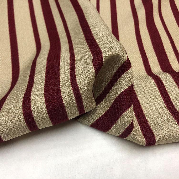 法国客供高档数码印花色春秋条纹时装麻进口布料服装聚酯纤维面料