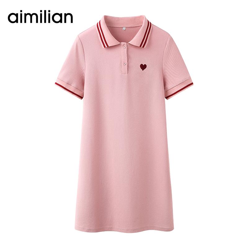 艾米恋POLO领连衣裙子夏季女新款小个子黑色短袖运动粉色a字短裙
