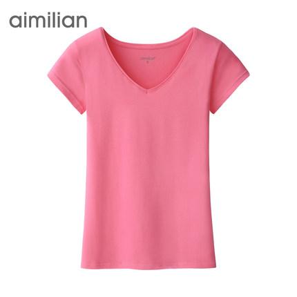 艾米恋 女士 纯棉 v领短袖t恤2件 35元包邮(45-10)