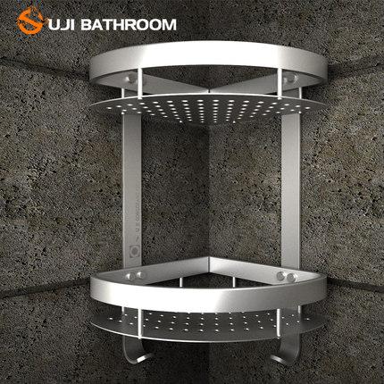 歐吉 加厚太空鋁浴室置物架轉角架衛生間置物架三角籃三角架層架