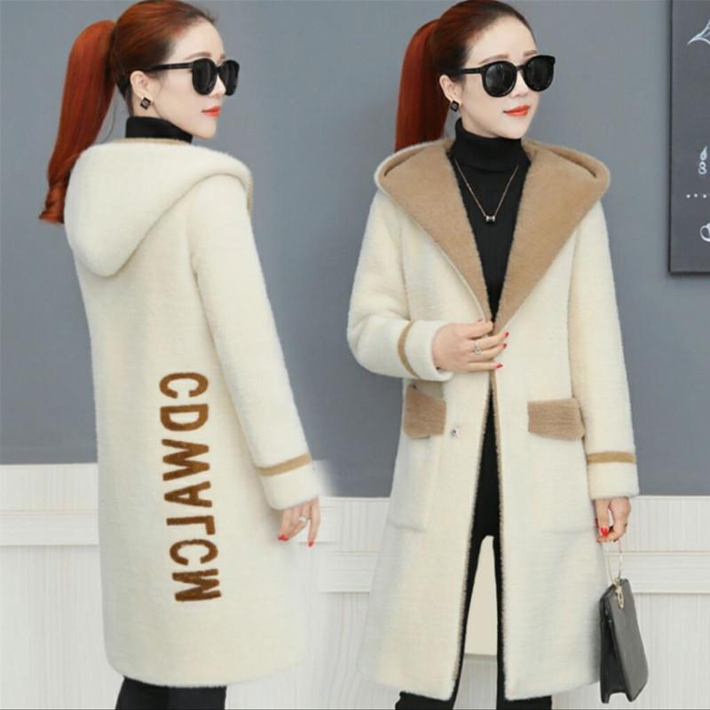 新款仿水貂绒大衣女2021秋冬季韩版中长款加厚宽松连帽开衫外套