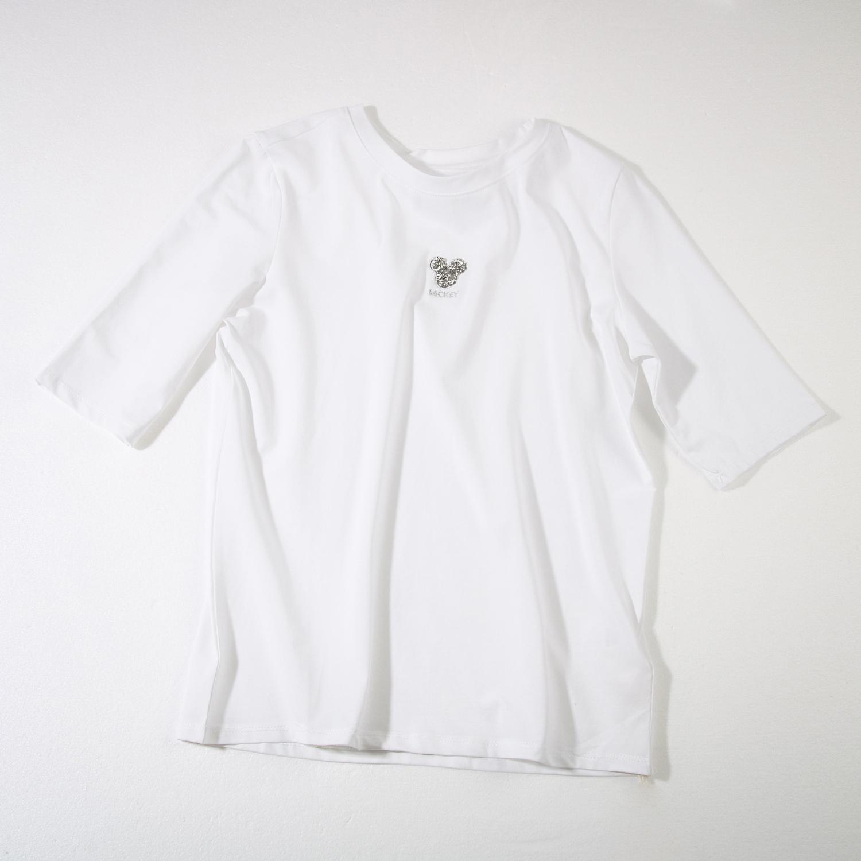 阿花家春季新款圆领短袖米奇T恤衫93%棉  7%氨纶