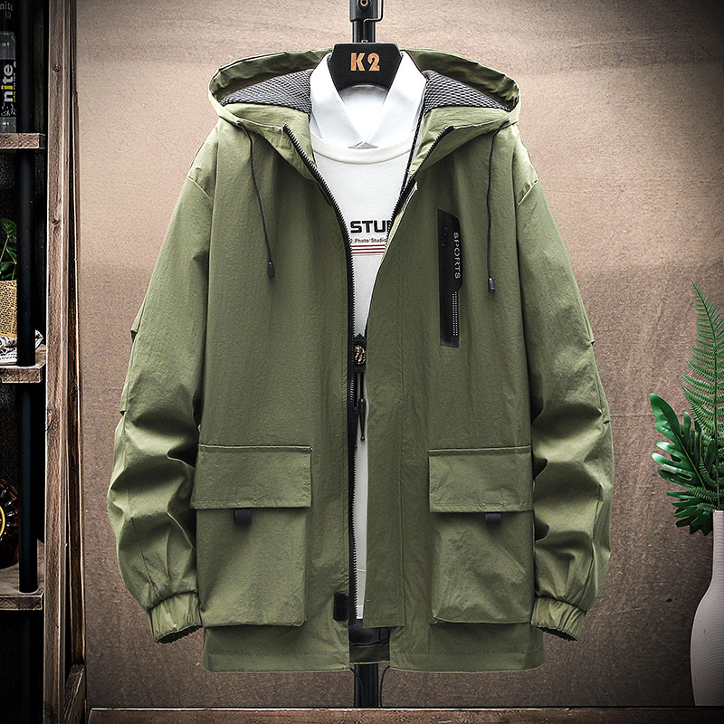 2021 spring and autumn large size Hong Kong sports coat tooling hooded windproof jacket loose size mens m-5xl