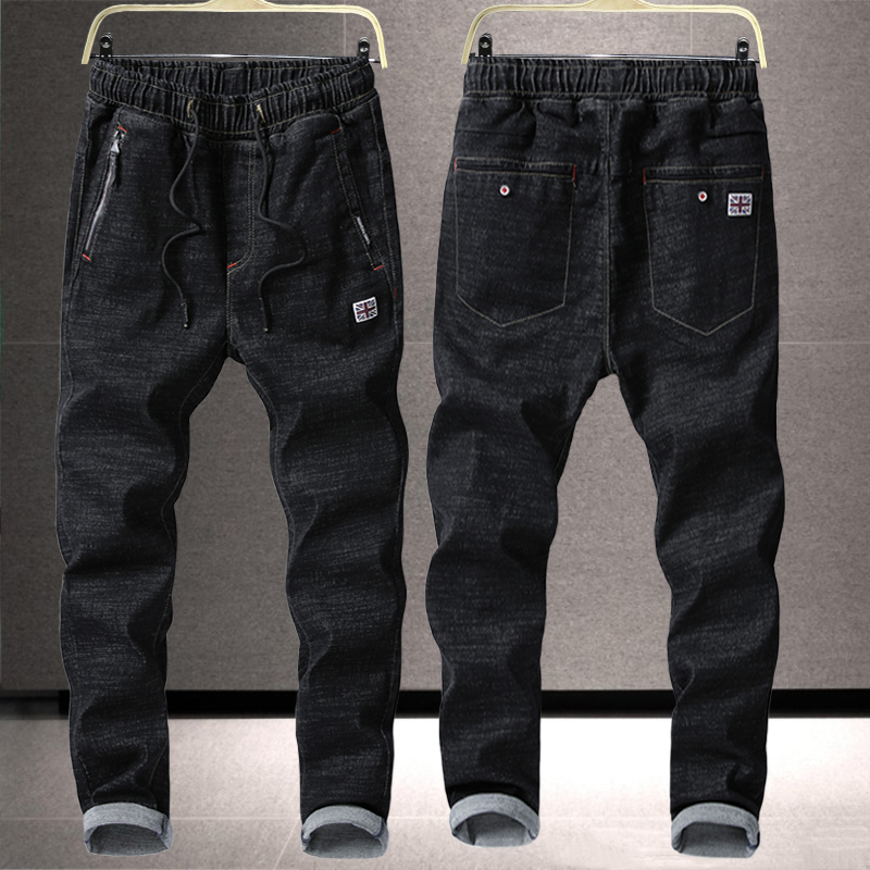Spring and summer jeans mens elastic slim fit small feet youth drawstring lace up middle school students elastic waist pants