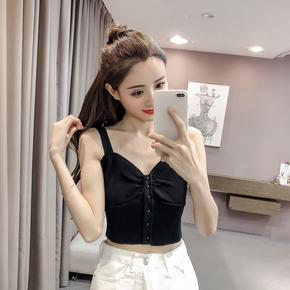 韩版短款无袖V领打底针织吊带小背心2019夏季新款时尚内搭女上衣