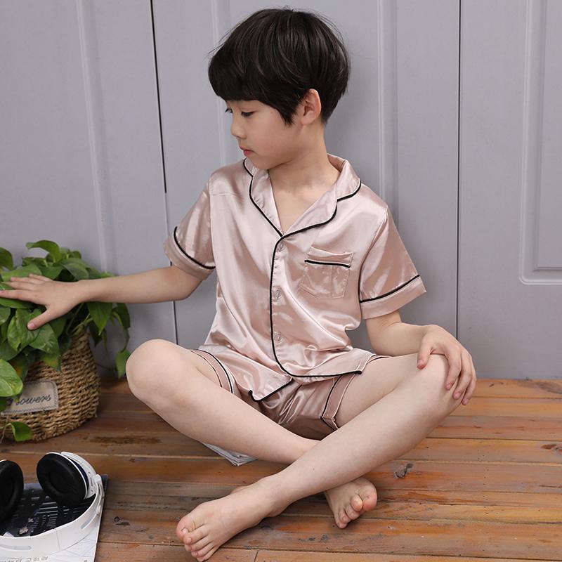 男童睡衣夏季薄款����短袖真�z�杉�套�和�中大童�b冰�z空�{服套�b