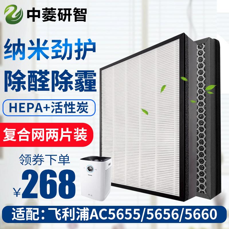 配飞利浦空气净化器AC5655 AC5656 AC5660过滤网FY5186滤芯两片装