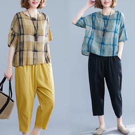 大码时尚洋气棉麻套装女夏装减龄显瘦宽松格子T恤休闲亚麻两件套图片