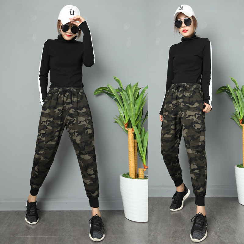 Camouflage overalls womens loose BF high waisted corset spring and summer handsome slim little feet sports leisure harem Capris