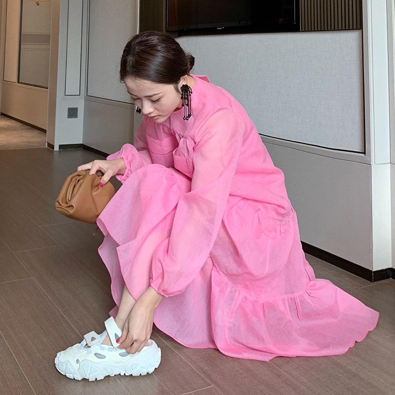 11月26日最新优惠BIRD 秋季新品 娃娃裙洋气百搭双口袋圆领拼接蛋糕连衣裙配吊带