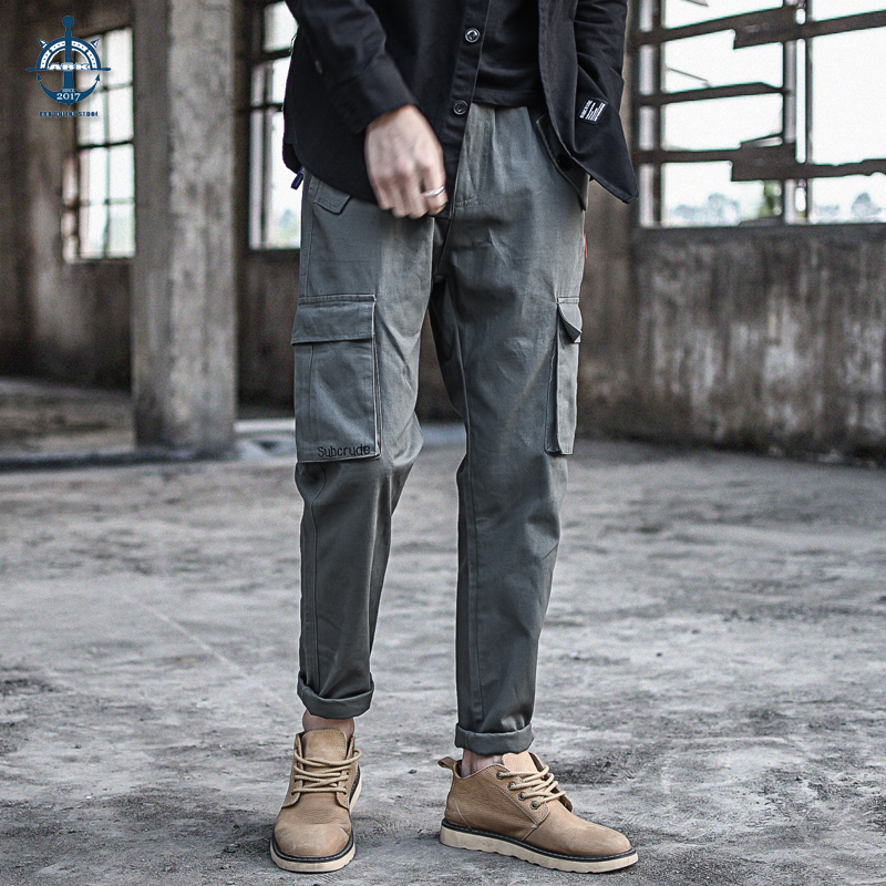 Overalls mens Multi Pocket straight tube loose embroidery casual pants Japanese street retro HAREM PANTS YOUTH pants