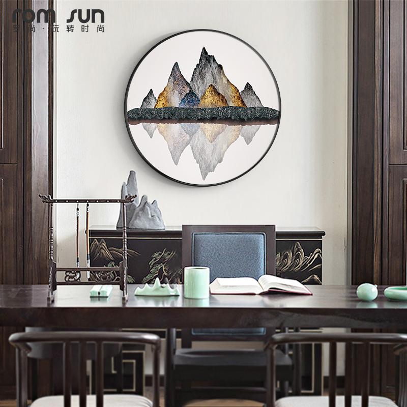 新中式茶室背景墙茶道山水画壁画