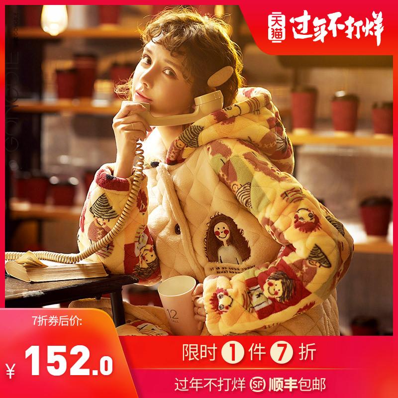 睡衣女秋冬季三层夹棉加厚保暖珊瑚绒棉袄两件套装卡通可爱家居服