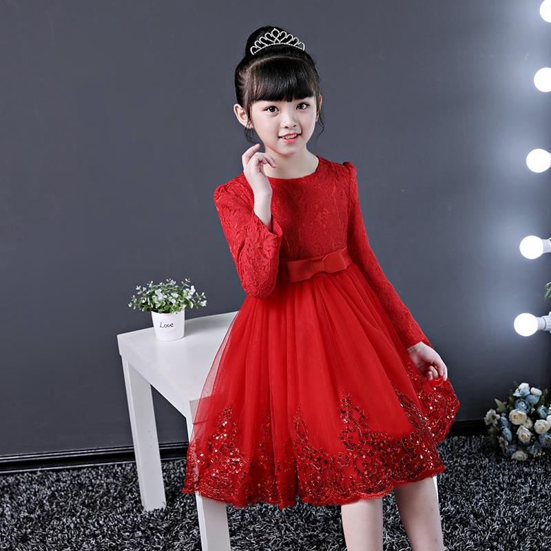红色连衣裙秋装长袖小女孩花童裙子