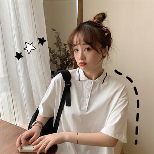 短袖T恤寬鬆少女古着感港味日系韓版半截袖上衣服ins潮翻領polo衫