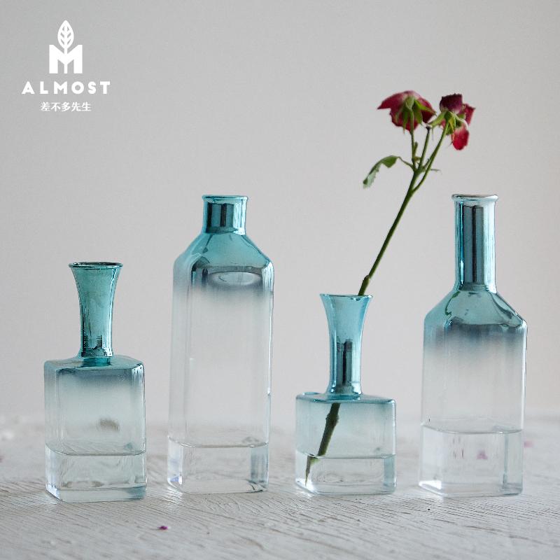 北欧创意ins杂志款蓝色干花花瓶单只花瓶办公桌梳妆台插花瓶装饰