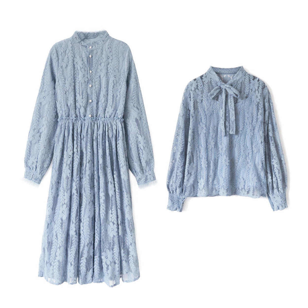 花栗鼠小姐 搭外套超美立领绒感蕾丝连衣裙女秋冬中长款显瘦裙子