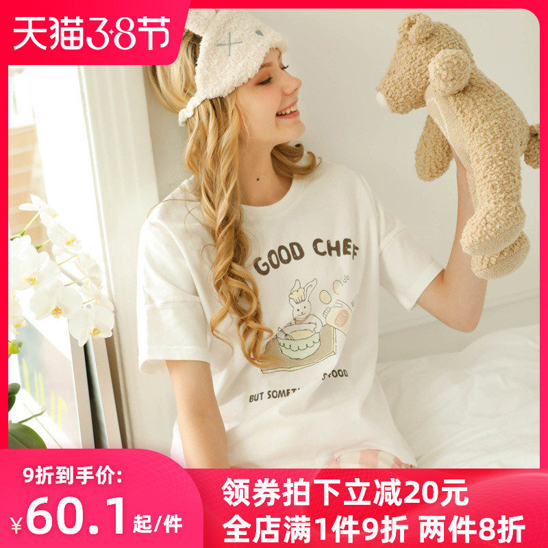 Pajamas female summer cotton thin short sleeve shorts sweet lovely student two piece suit summer cotton home clothes