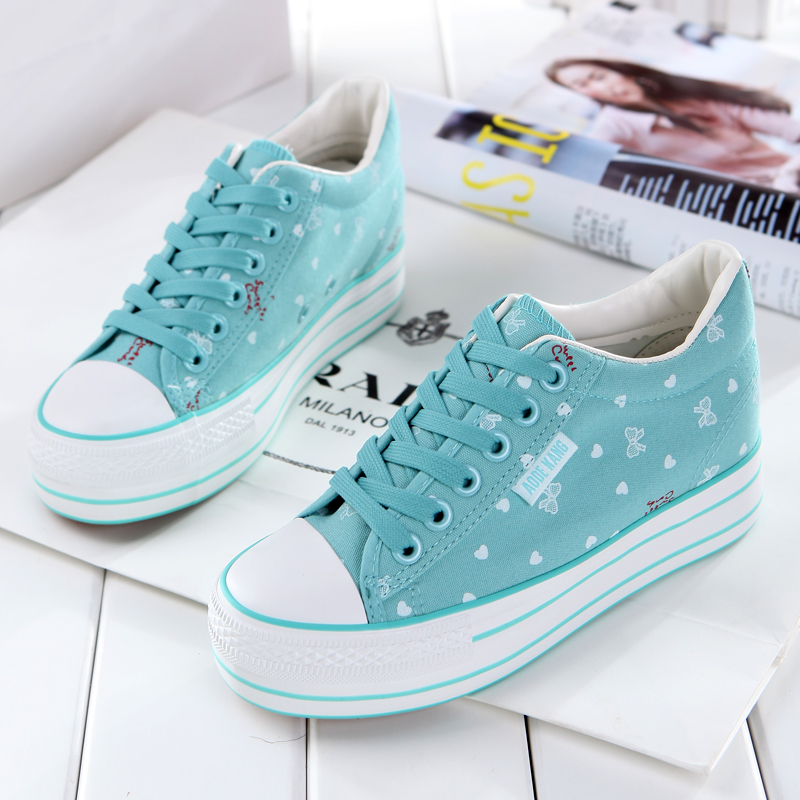 New spring and summer broken flowers inside increased canvas shoes womens shoes breathable thick bottom muffin Korean version of fashionable student cloth shoes board shoes