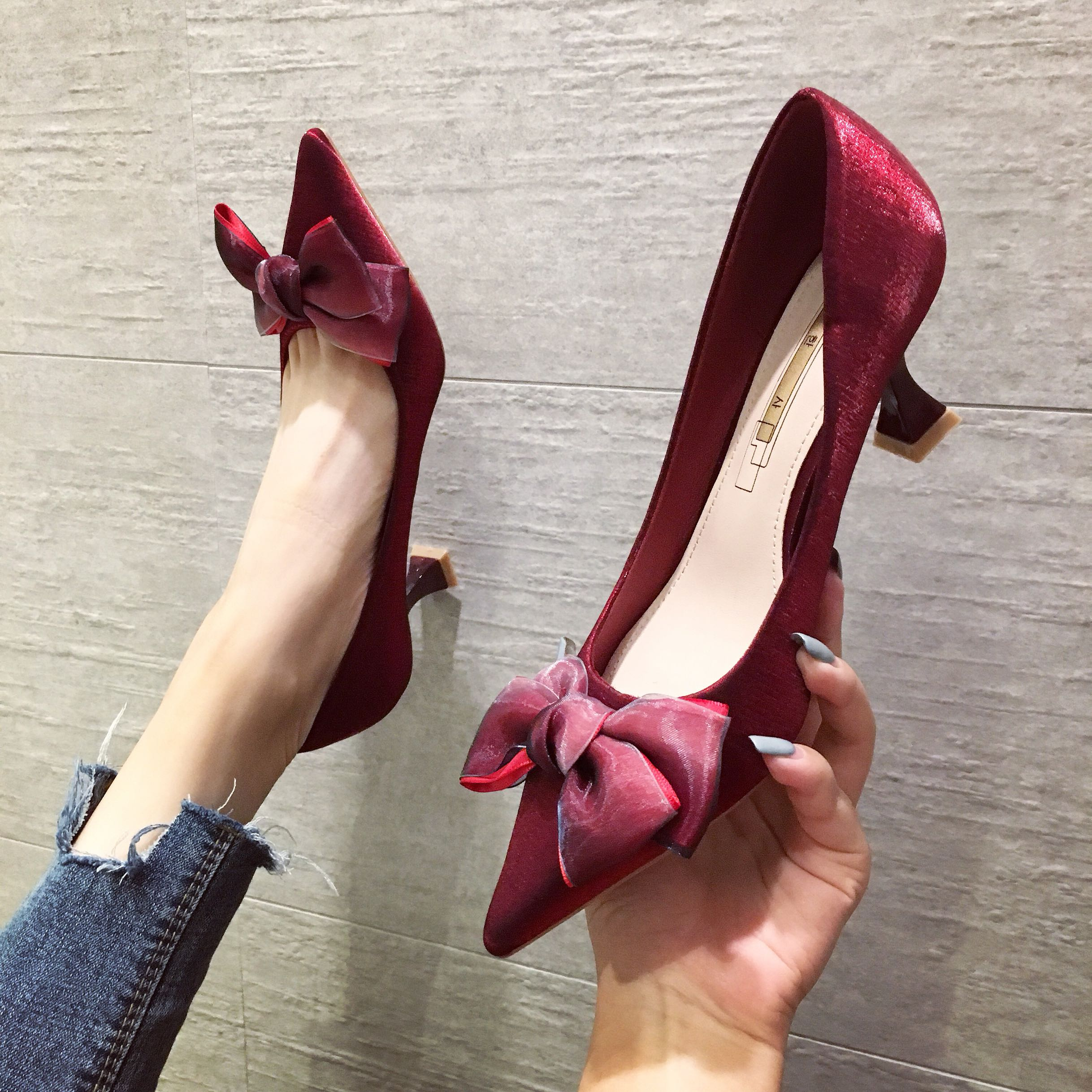 Jinhansha high heeled shoes 2019 new versatile autumn and winter slim heel single shoes womens 5cm cat heel wedding shoes