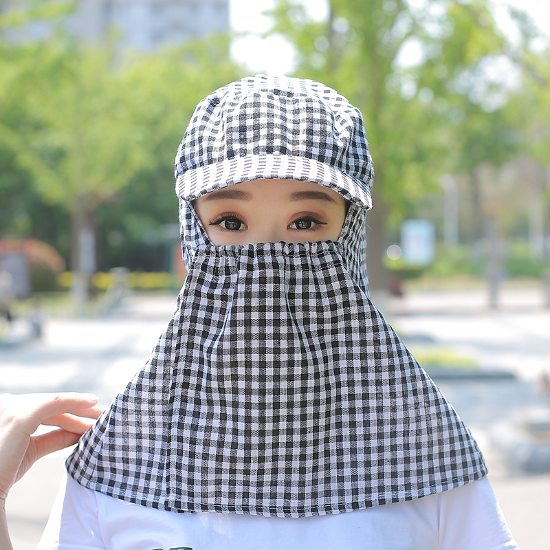Hat woman summer cotton hemp sun hat cover face and neck anti ultraviolet sun protection hat bicycle work tea picking sun hat