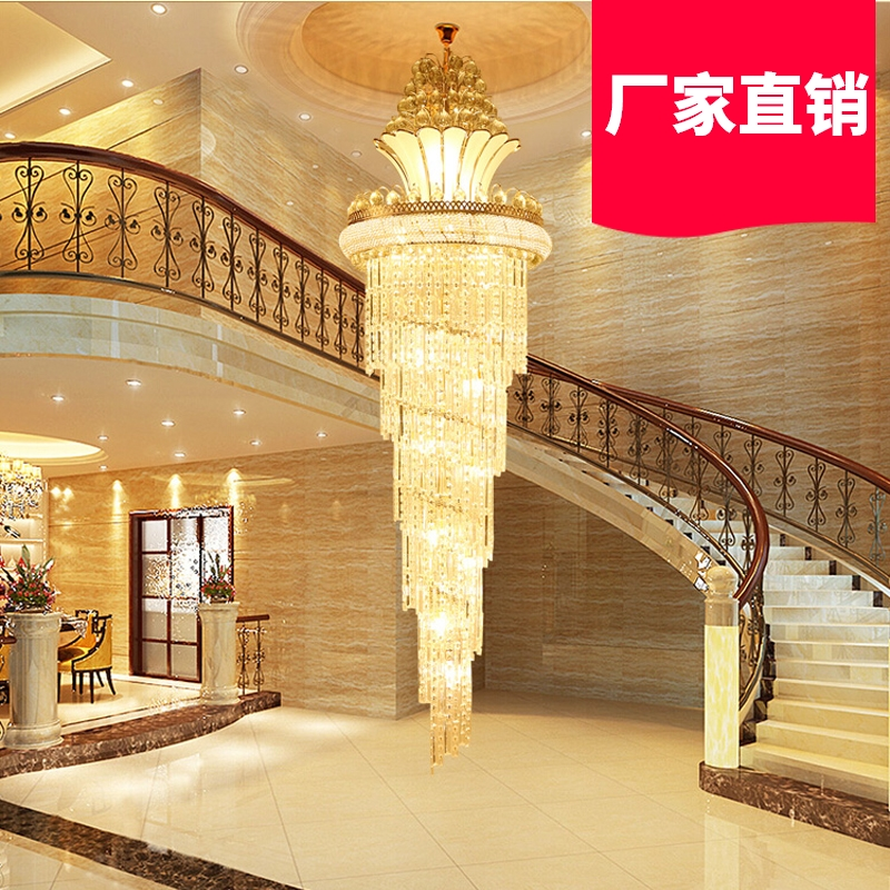 Villa duplex building, living room, 5m large chandelier, middle floor, revolving staircase, empty luxury s gold high end crystal lamps