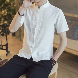 中国风夏男装亚麻短袖男唐装中式盘扣棉麻立领衬衫民族风麻布衣服