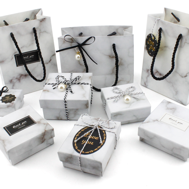 Ins wind with hand small gift box marble bracelet ring watch Earring Necklace packaging jewelry box